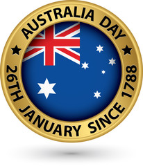 Australia Day gold label, vector illustration