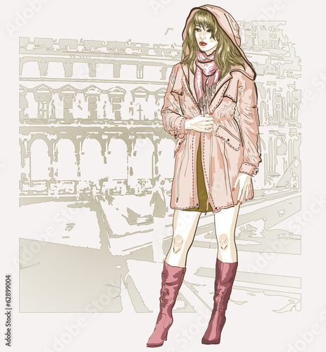 pretty fashion girl in sketch style