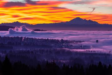 sunrise and morning glow