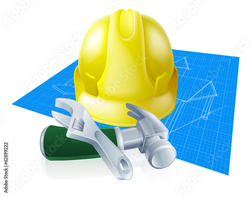 Hard hat tools and blueprint