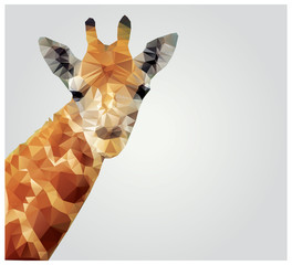 Geometric polygonal giraffe, triangle pattern design, vector