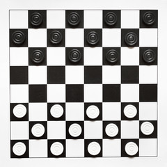top view of starting position on draughts board