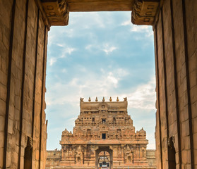 exit gate Brihadeeswarar great architecture of Hindu Temple is U