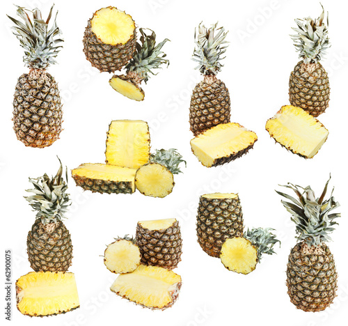 set of ripe pineapples isolated on white