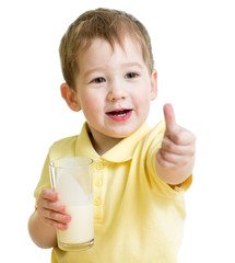 child drinking milk or kefir and showing thumb up