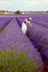 Beautiful young lady picking some lavender in lavender field. Pr