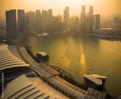 Fotobehang Singapore Sunset at Marina bay