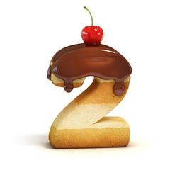 cake 3d font number 2