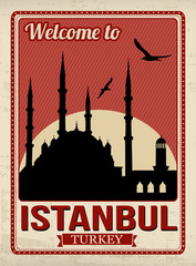 Blue mosque from Istanbul retro poster