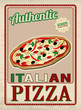 Authentic Italian Pizza retro poster