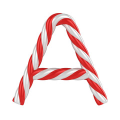 christmas candy cane font - letter A