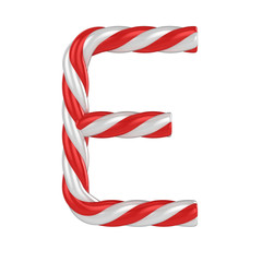 christmas candy cane font - letter E