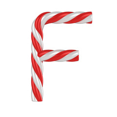 christmas candy cane font - letter F