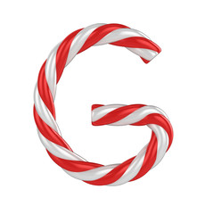 christmas candy cane font - letter G