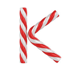 christmas candy cane font - letter K