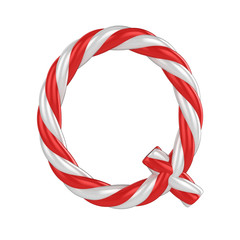 christmas candy cane font - letter Q