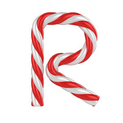 christmas candy cane font - letter R