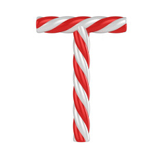 christmas candy cane font - letter T