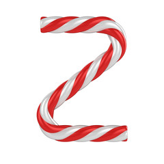 christmas candy cane font - letter Z