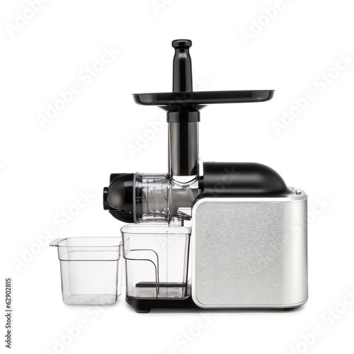 Electric meat grinder on white background