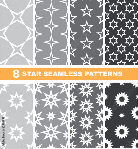 Set of 8 seamless patterns with stars