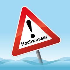 Schild Achtung Hochwasser