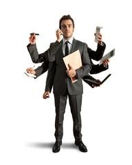 Multitasking businessman