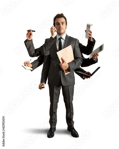 Multitasking businessman