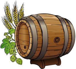 Bierfass mit Hopfen und Gerste vektor