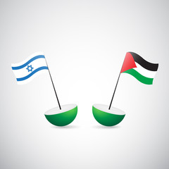 isdrael and palestine flags