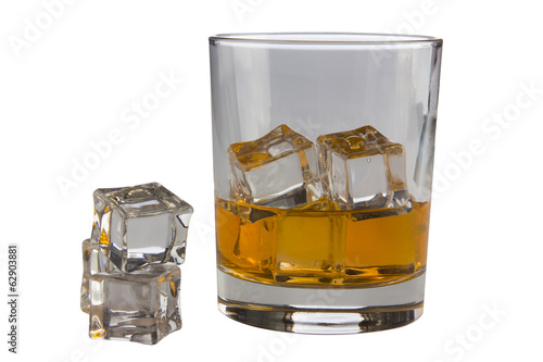 a glass and ice