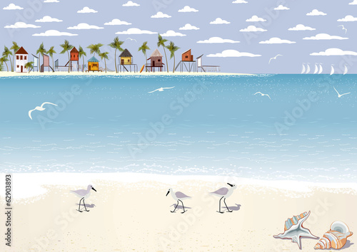Seascape with beach bungalows on island