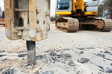 Asphalt Road repairing works with hydrohammer