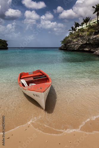 Local Fishing Boats and the beach of  Lagun, Curacao, Caribbean