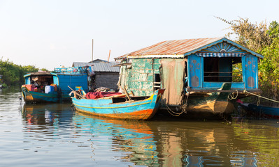 Slums in Cambodia on Tonle Sap lake