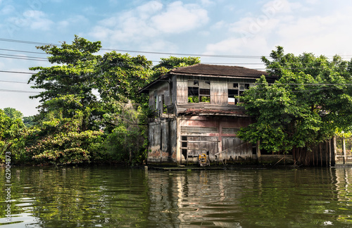 Huts on dirty canal in Thailand