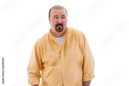 Distrustful sceptical middle-aged man