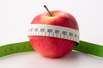 Apples with measure tape