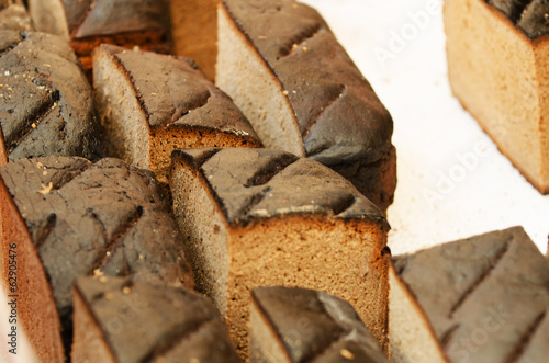 Homemade rye bread in in the handicraft mart