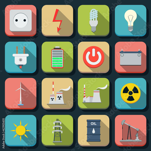 Energy flat vector icons