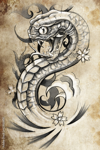 snake tattoo illustration, handmade draw over vintage paper
