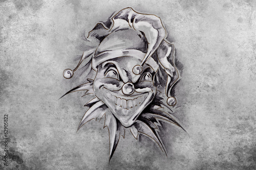 tattoo joker, illustration, handmade draw over vintage paper