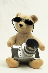 Cool Vintage Bear with Antique Camera