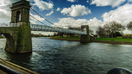 Suspension bridge in Nottingham over River Trent time lapse