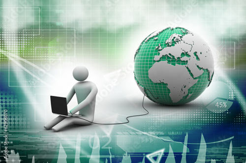 3d man sit near the globe with laptop