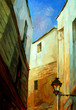 evening in gothic quarter of barcelona, painting, illustration