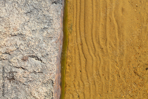 Stone and sand on the lakeside natural background.