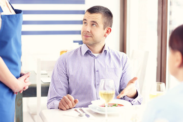 Unhappy customer in a restaurant