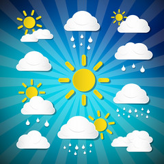 Vector Weather Icons - Clouds, Sun, Rain on Retro Background