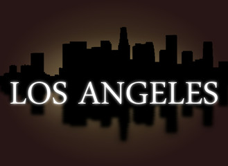 Los Angeles skyline reflected dramatic sky text illustration